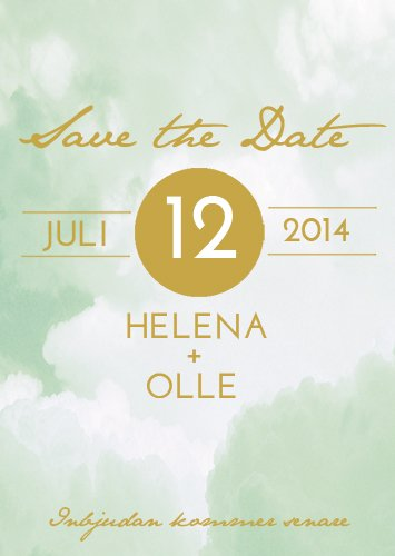 """RIBBON IN THE SKY"" SAVE THE DATE GREEN"