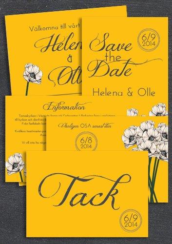 "Paket: ""You make loving fun"" ORANGE, SAVE THE DATE, INBJUDAN, TACKKORT, INFOKORT & OSA-KORT (VÄRDE 765 SEK)"
