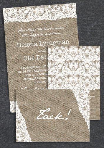"""Paket: """"At last"""" säckväv, Save the date, inbjudan & tackkort (värde 507 SEK)"""