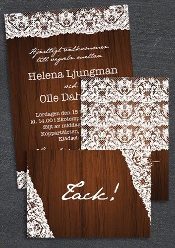 """Paket: """"At last"""" trä, Save the date, inbjudan & tackkort (värde 507 SEK)"""