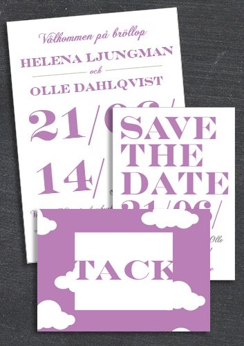 "Paket: ""WHEN I FALL IN LOVE"" Lila; save the date, inbjudan & tackkort (värde 507 SEK)"