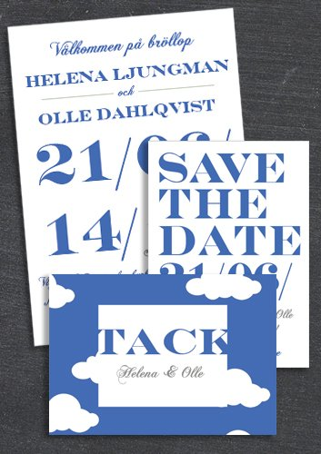 "PAKET: ""WHEN I FALL IN LOVE"" BLÅ; SAVE THE DATE, INBJUDAN & TACKKORT (VÄRDE 507 SEK)"