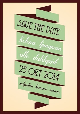 """""""I'll be there"""" save the date grön"""