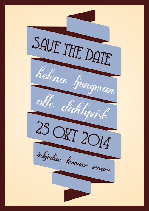 """I'll be there"" save the date blå"