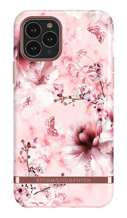 Richmond & Finch Pink Marble, iPhone 11 Pro, rose gold details