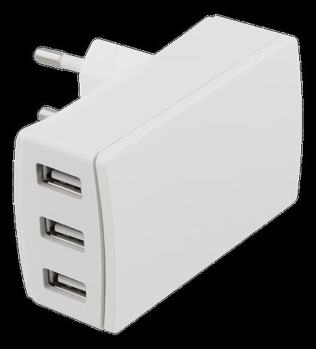 DELTACO USB Väggladdare 3,4A, 3 uttag, vit
