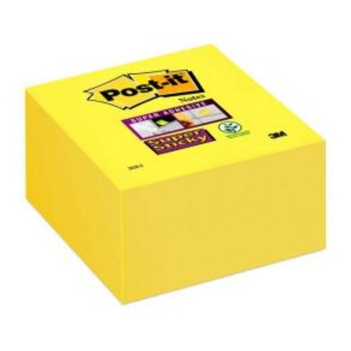 Post-It Kub Supersticky Gul, 76x76mm, 350bl