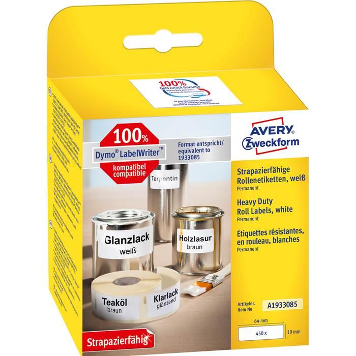 Etikett Avery durable 19x64mm