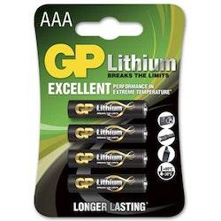 Batteri GP Lithium AAA 4/fp