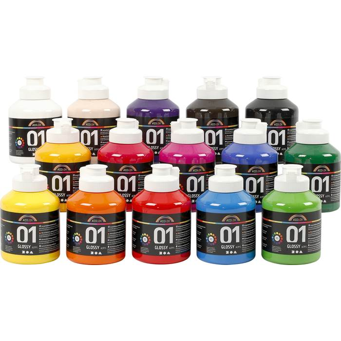 Akrylfärg blank 500ml mix 15/f