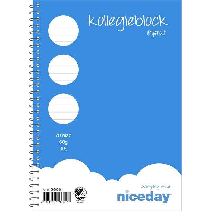Kollegieblock A5 70 blad 60 gram linjerat NicedayDet