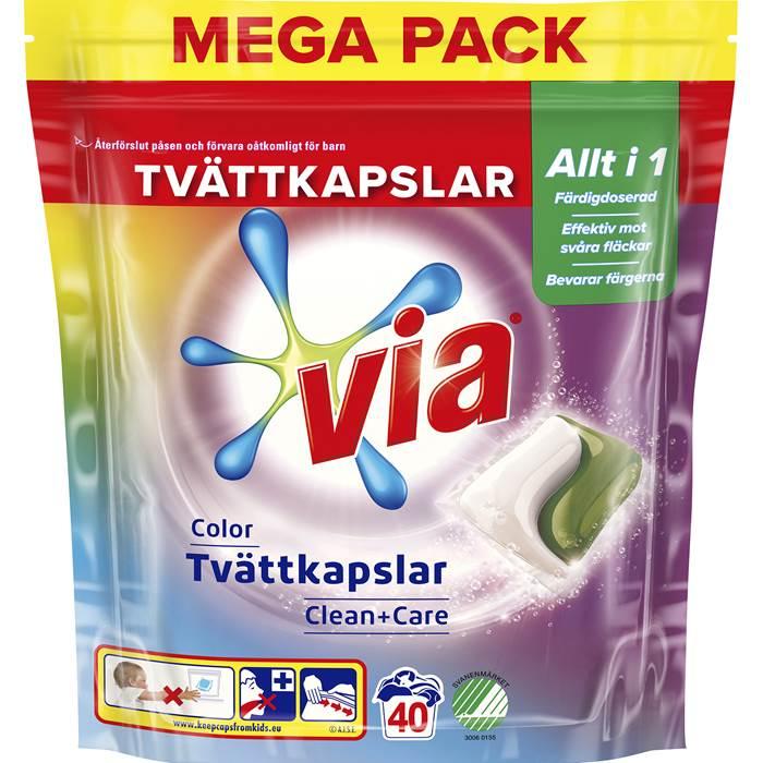 Tvättkapslar Via duo Color 40 st/fp Clean+Care