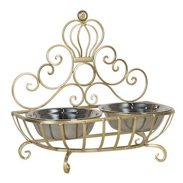 Elegant matskål på ställning av järn