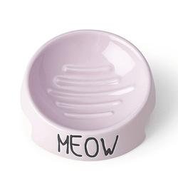 Katt matskål keramik rosa färg - Inverterad