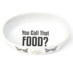Katt matskål oval vit - Keramik