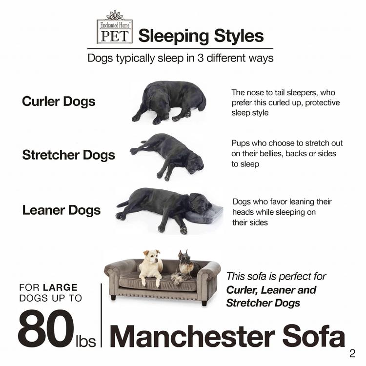 Lyxig hundsäng i sammet Manchester