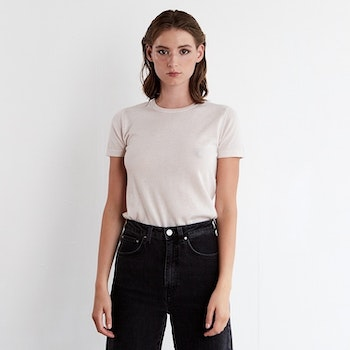 GRETA. T-shirt knitted in thin cashmere. Off white.