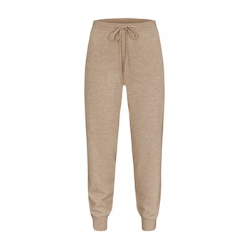 BILLIE. Cashmere jogger with pockets. Beige.