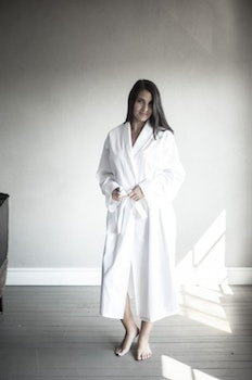 Egyptian cotton bathrobe.