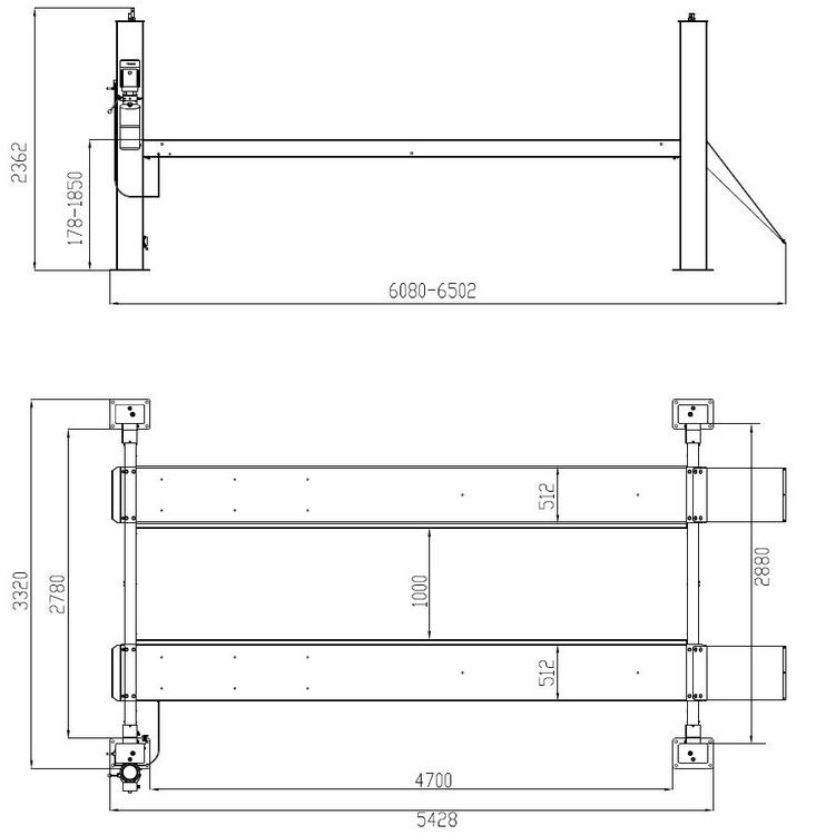 Fyrpelarlyft 6,4 ton Weber Expert-serien