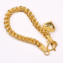 Thai gold bracelet with heart pendant, 2 Baht 30,4 G, 16 cm