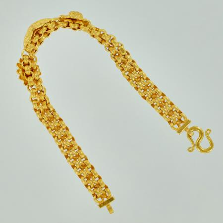 Thai gold bracelet with decor 1 Baht 23K, 16,5 cm