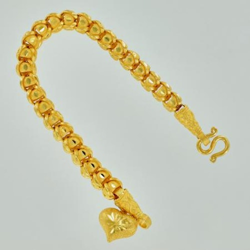 Thai gold bracelet with heart locket, 2 Baht - 23K