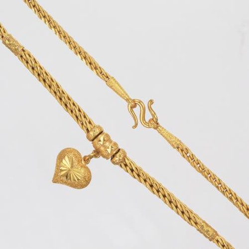 Thai gold necklace with heart locket, 2 Baht 23K